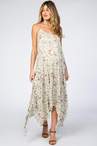 Light Mint Floral Asymmetrical Hem Maternity Dress