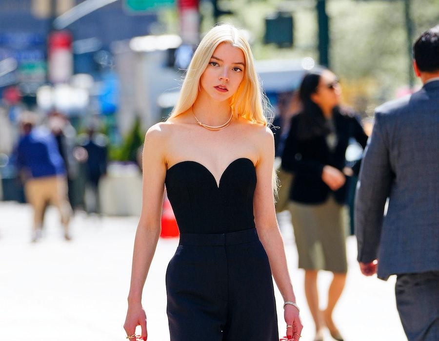 NEW YORK, NEW YORK - APRIL 13: Anya Taylor-Joy and Alton Mason film a scene for Tiffany on April 13, 2021 in New York City.