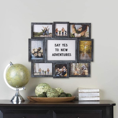 Melannco Customizable Letterboard 8-Opening Photo Collage