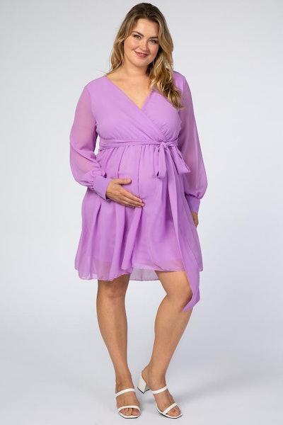 Lavender Chiffon Plus Maternity Wrap Dress