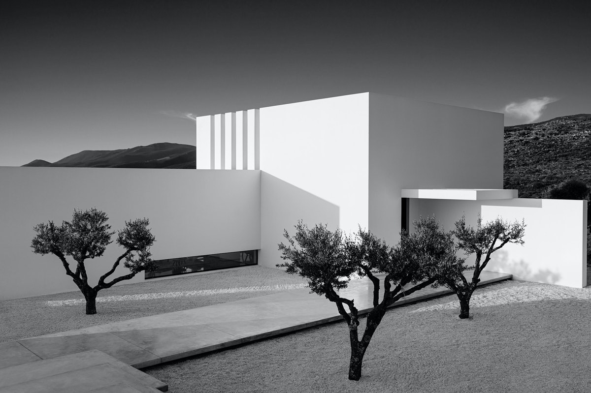 home exterior in black and white