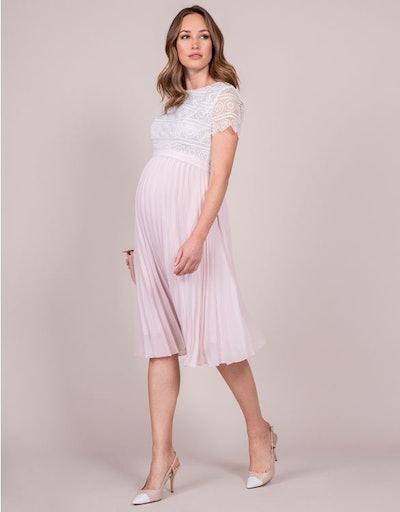 Blush & Ivory Sunray Pleat Maternity Dress