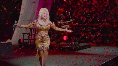 Dolly Parton in 'Dolly Parton: A MusiCares Tribute'. Photo via Netflix