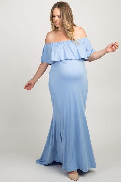 Blue Ruffle Off Shoulder Mermaid Maternity Plus