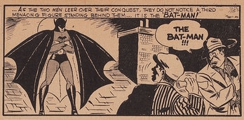 original Batman artist Bill Finger's style in a comic book panel