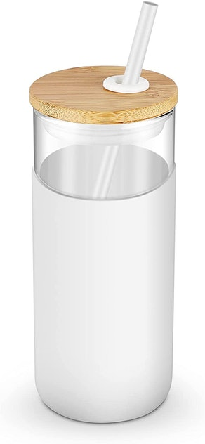 tronco Glass Tumbler with Bamboo Lid and Silicon Straw