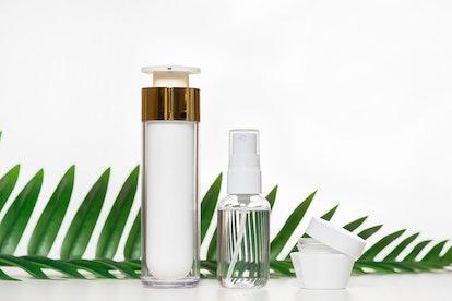Beauty product bottles.