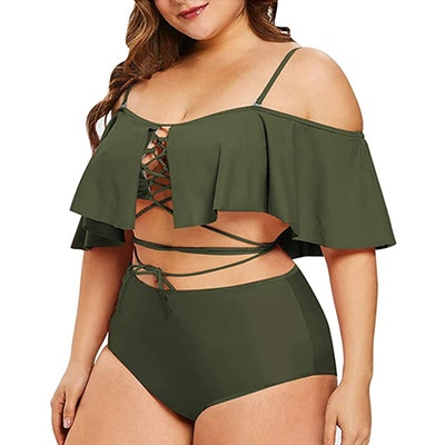 Sovoyontee Plus-Size Ruffled Lace-Up Two Piece Swimsuit