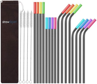 StrawExpert Reusable Metal Straws with Silicone Tip (16-Pack)