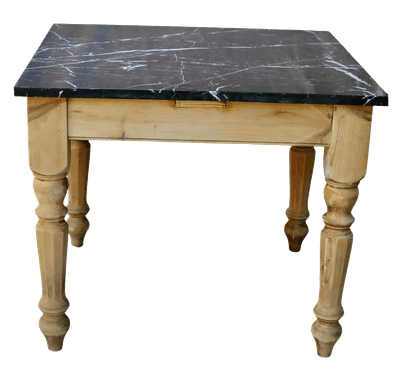 Late 20th Century French Farm Table With Black Marble Top