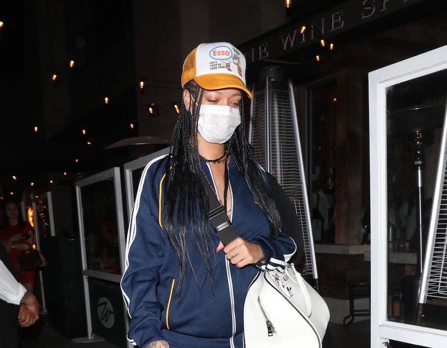 LOS ANGELES CA - APRIL 12:  Rihanna is seen at Wallys on April 12, 2021 in Los Angeles, California.