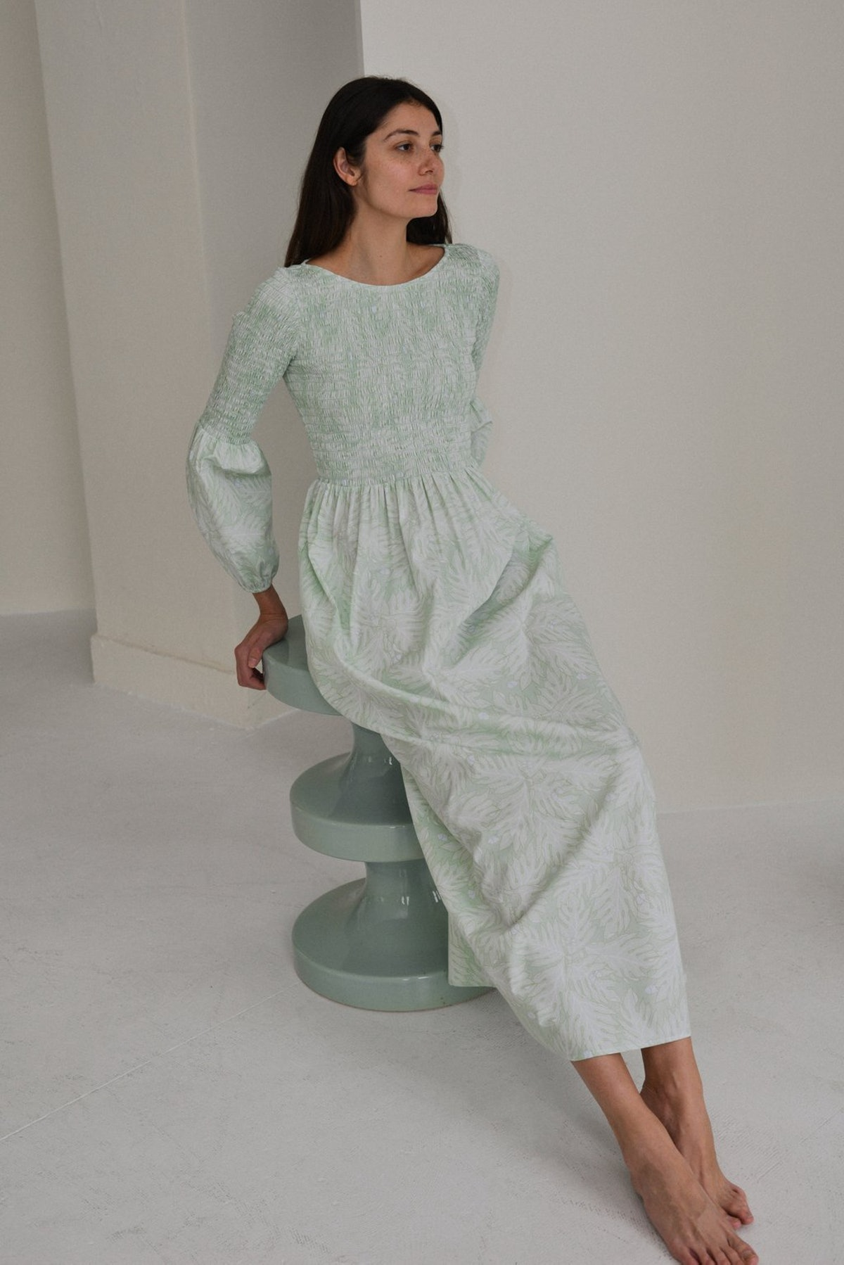 Smocked Maxi Dress in Green Breadfruit