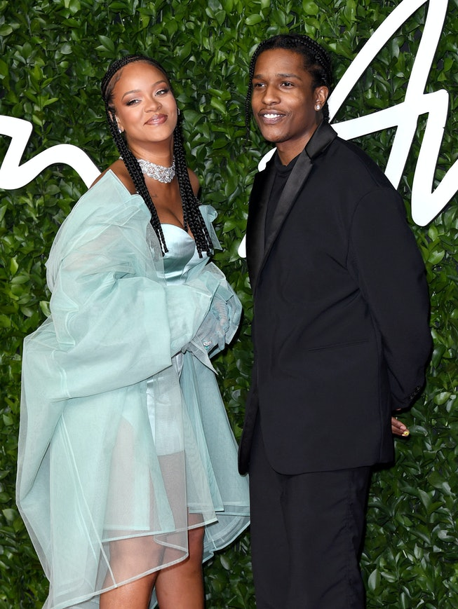Rihanna and ASAP Rocky attend The Fashion Awards 2019 at the Royal Albert Hall on December 02, 2019 in London, England.