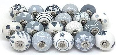 Artncraft Hand-Painted Ceramic Knobs (Set of 6)