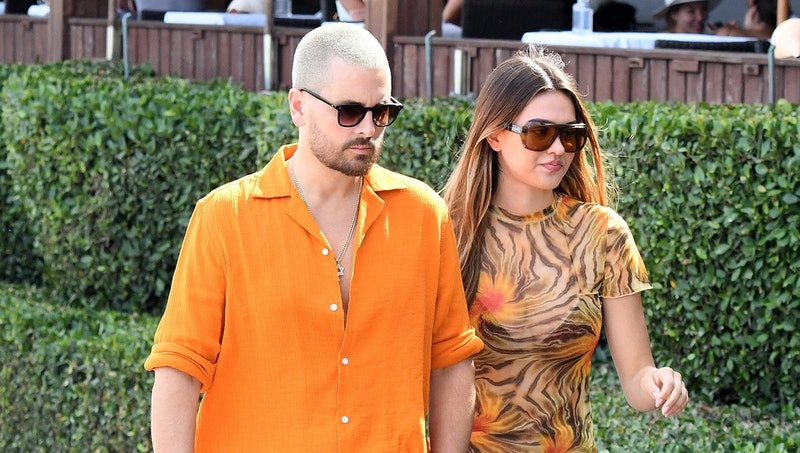 MIAMI FL - APRIL 7: Scott Disick and Amelia Hamlin are seen walking at the beach on April 7, 2021 in...