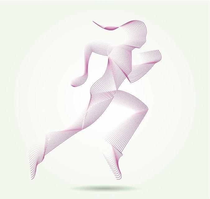 Illustration of woman running.