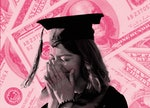 A college student, worried about student debt, stands superimposed in pink over images of money