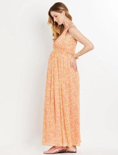Floral Chiffon Maternity Maxi Dress
