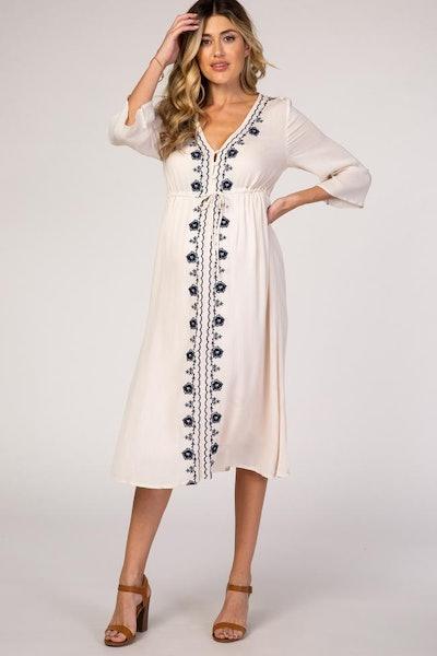 Beige Floral Embroidered 3/4 Sleeve Maternity Midi Dress