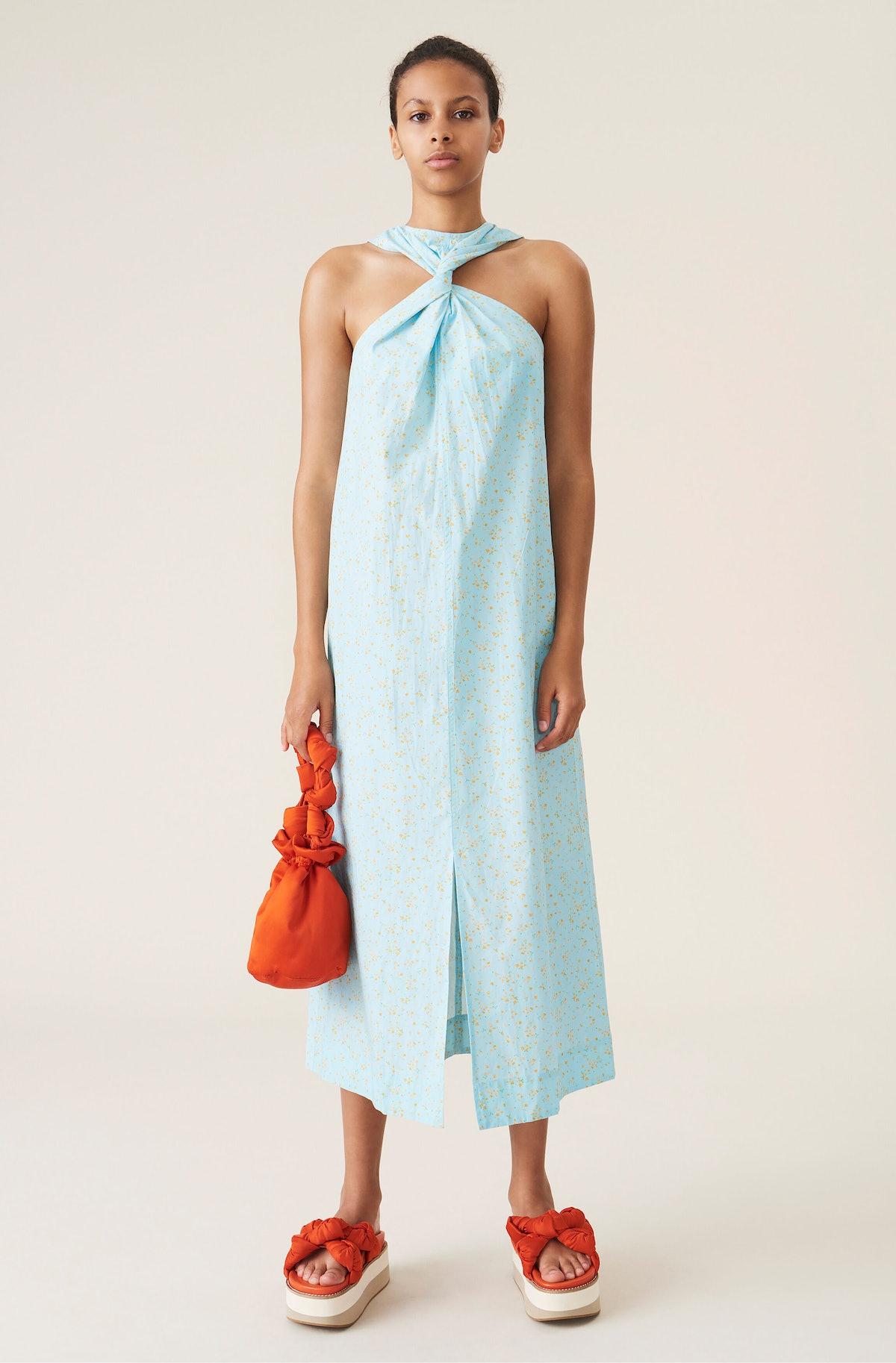 Printed Poplin Twist Dress