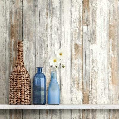RoomMates Wood Peel and Stick Wallpaper