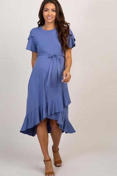 PinkBlush Blue Ruffle Trim Hi-Low Wrap Maternity Dress