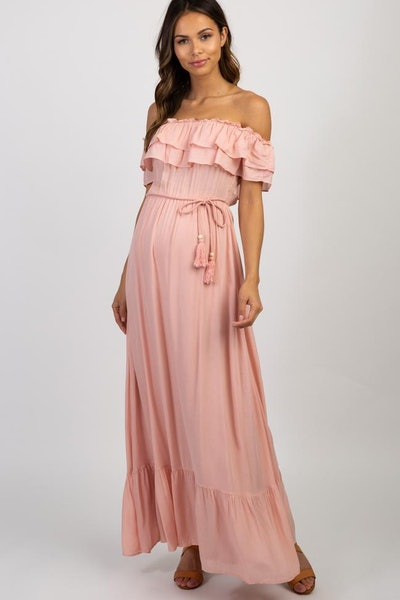 Pink Off Shoulder Tassel Tie Maternity Maxi Dress
