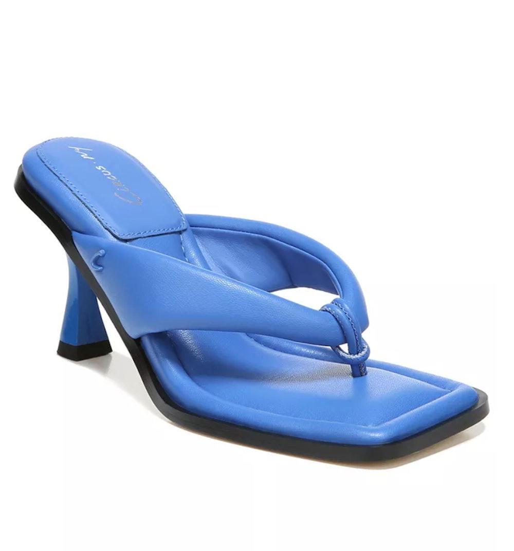 Skeet Square-Toe Thong Dress Sandals