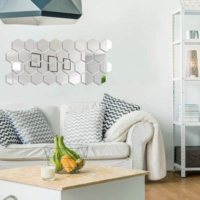 Shappy Hexagon Mirror Wall Decals (32-Pieces)