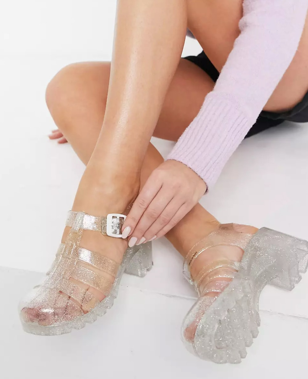 Jelly Heeled Shoes in Clear