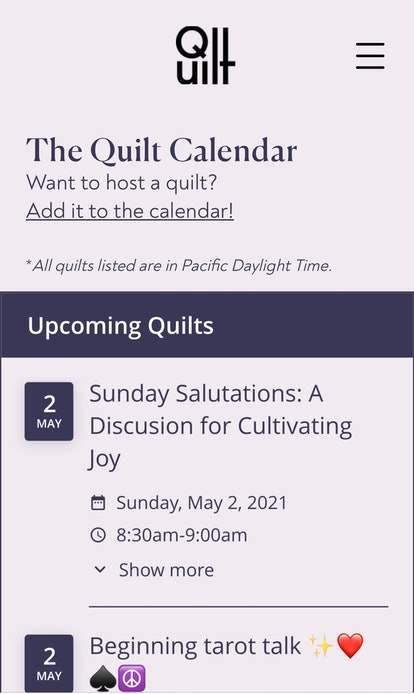 Picking a Quilt app discussion to join on the calendar page.