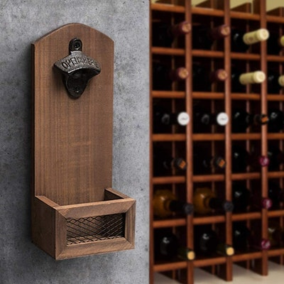 ZGZD Vintage Wall Mounted Wooden Bottle Opener With Cap Catcher