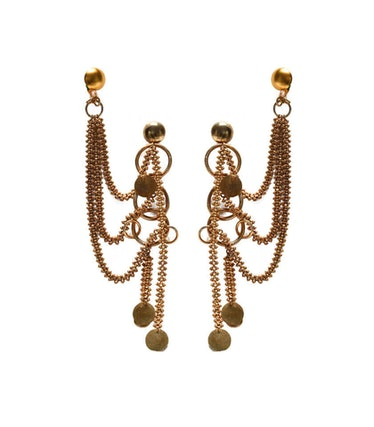 Track Multichain Danglers With Cuff Ring in Matte Gold Polish