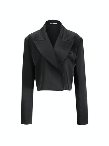 Satin Cropped Seamless Blazer in Black