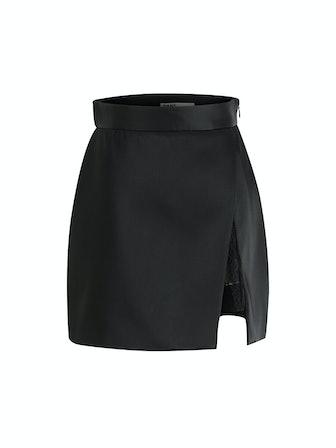Satin Slit Mini Skirt in Black