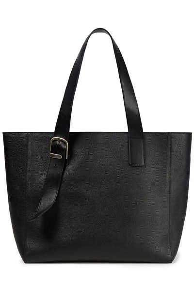 Buckle Detailed Pebble Leather Tote