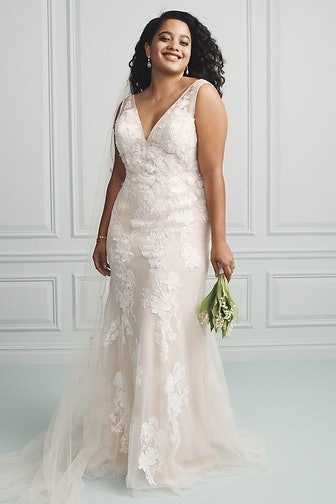 Deep V Plus Size Wedding Gown with Floral Applique