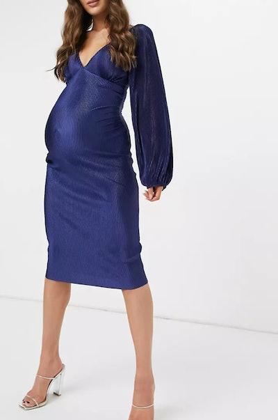 ASOS Design Maternity Baby Shower Plisse Balloon Sleeve Midi Dress in Navy