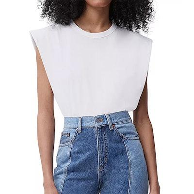 Cotton Shoulder-Pad Top