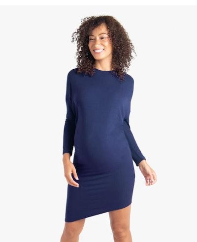 Long Sleeve Asymmetrical Hem Maternity Dress in True Navy
