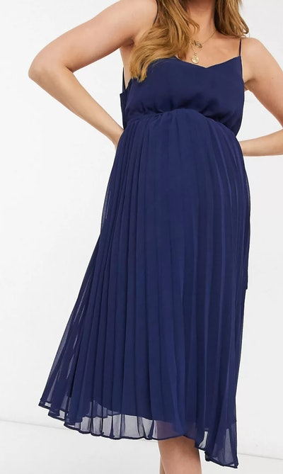 ASOS Design Maternity Pleated Cami Midi Dress With Drawstring Waist in Navy