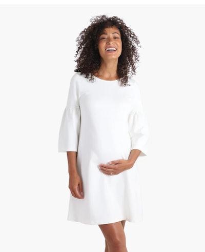 Ponte Bell Sleeve Dress in Ivory 2