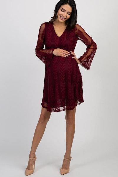 PinkBlush Burgundy Chevron Mesh Overlay Maternity Dress