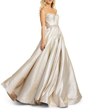 Metallic Tuxedo Strapless Ball Gown w/ Pockets