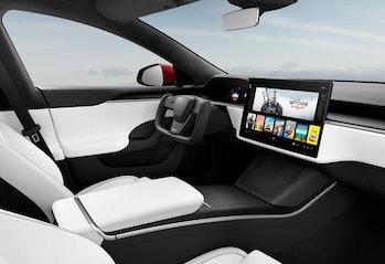 The Tesla Model S center console.