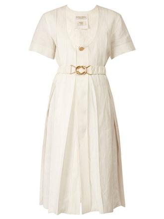 Belted Pleated Midi Dress