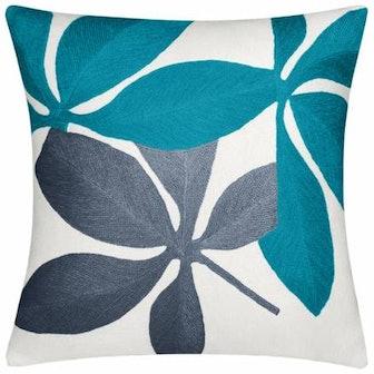 Judy Ross Fauna Cream, Peacock, Slate 18x18 Pillow