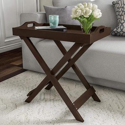 Lavish Home Wooden Folding Side Table
