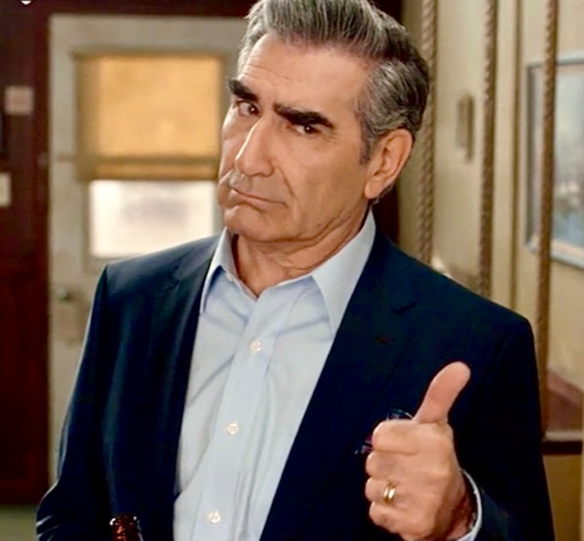 Johnny Rose giving a thumbs up on 'Schitt's Creek' for Father's Day cards inspired by the hit series.