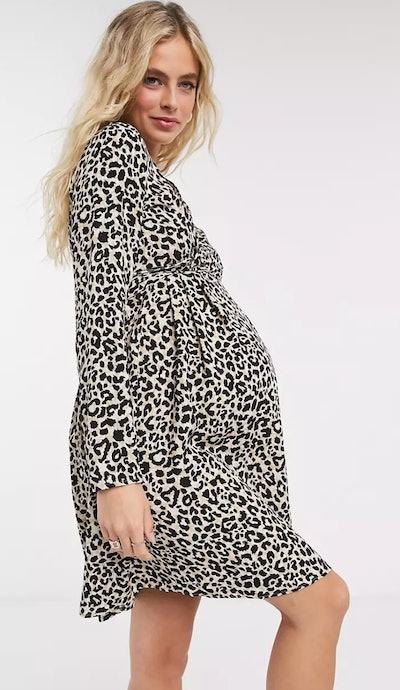 ASOS Design Maternity Nursing Mini Wrap Dress with Long Sleeves in Leopard Print